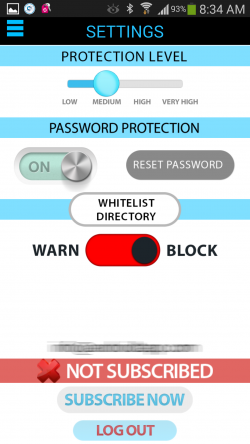 Antivirus Privacy Firewall - Settings