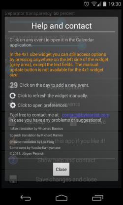Clean Calendar Widget - Help