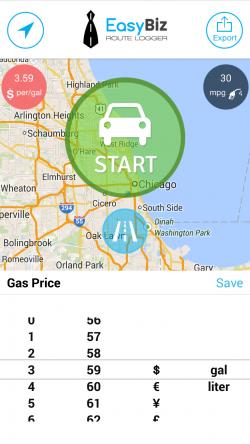 EasyBiz Pro Route Logger - Configure Gas Price