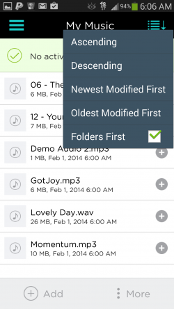 pCloud - Sorting Options