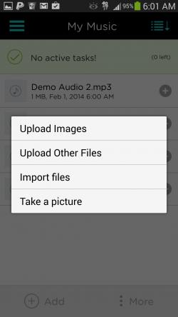 pCloud - Upload Options