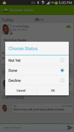 Remindus - Statuses