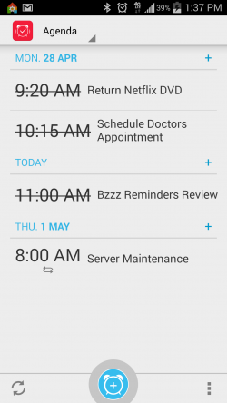 Bzzz Reminders and To-Do List - Checked Off Reminders - Agenda View