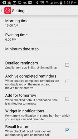 Bzzz Reminders and To-Do List - More Settings