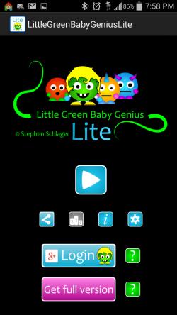 Little Green Baby Genius - Start Screen