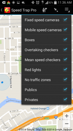 Speed Trap Pro - Options on Map