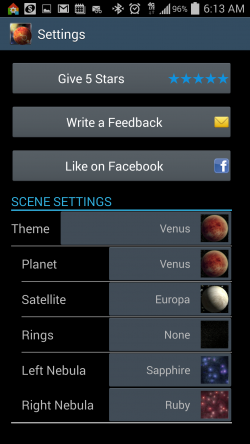 Unreal Space HD - Settings