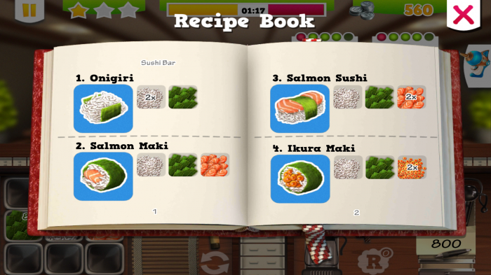 Chefs Diner Food Rush - Recipe Book