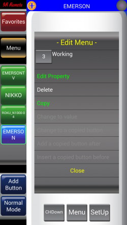 IR Remote Lite for SAMSUNG and HTC - Edit Button