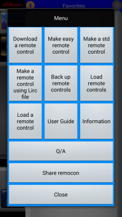 IR Remote Lite for SAMSUNG and HTC - Menu