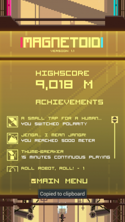 MAGNETOID Robo Runner - High Score and Achievements