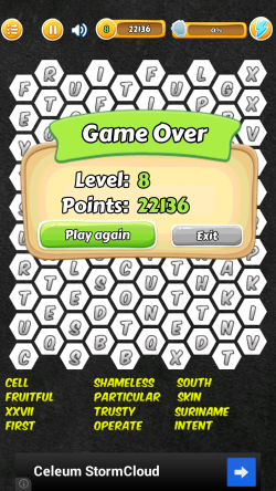Word Search Hexagon - Game Over High Score
