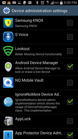 Ignore No More - List of Device Admins