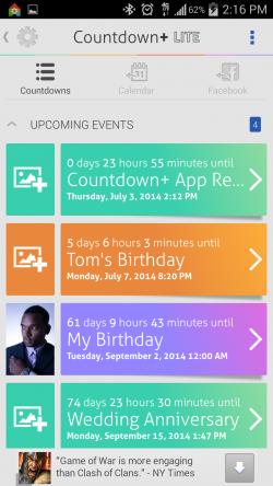 Countdown Widget Events Lite - Countdowns List