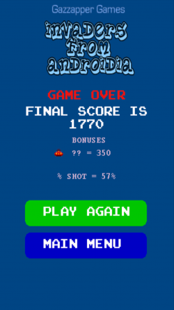 Invaders from Androidia - High Score