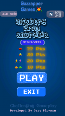 Invaders from Androidia - Start Screen