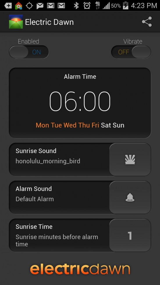 Electric Dawn – Alarm Clock. A gentle wake alarm clock