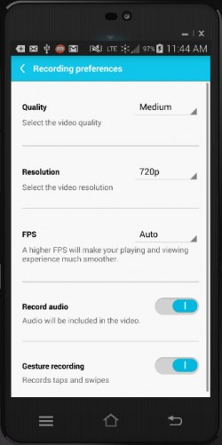 Mobizen - Screen Recording Preferences