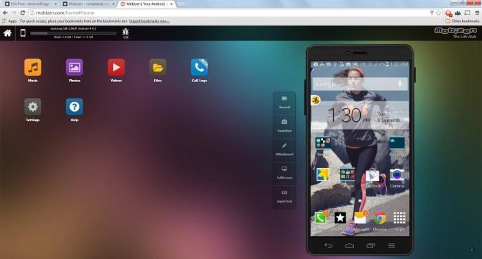 Mobizen on Web - Dashboard