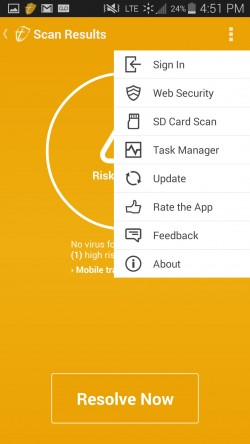 Trustlook Antivirus and Mobile Security - Menu