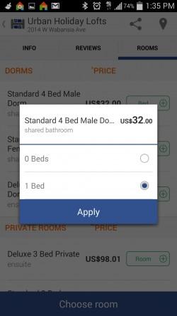 Hostelworld Hostels - Number of Beds