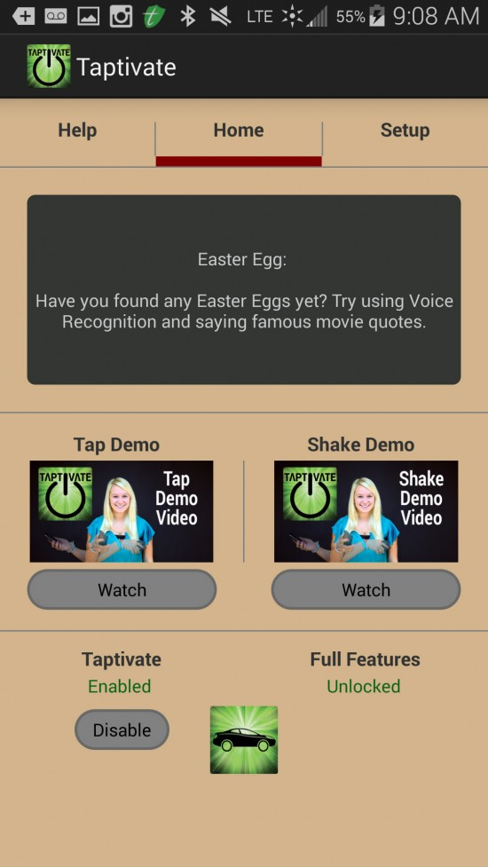 Taptivate – operate phone without touching screen