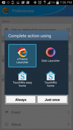 eTheme Launcher - Set Always Default Launcher