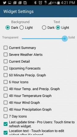 Arcus Weather - Widget Settings
