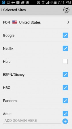 Hotspot Shield VPN Proxy WiFi - Selected Sites
