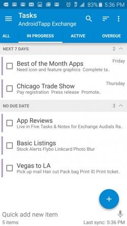 Tasks and Notes for MS Exchange - Tasks In Progress