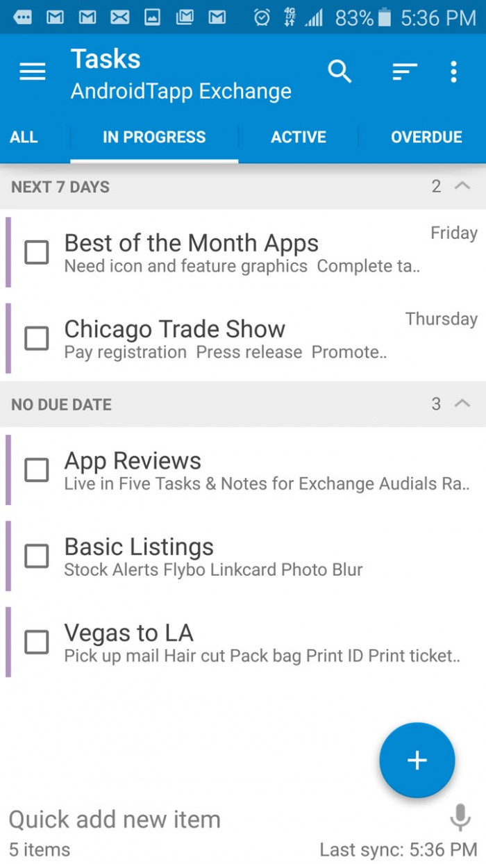 Tasks & Notes for MS Exchange – fully feature GTD app