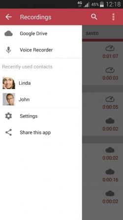 Automatic Call Recorder - Menu