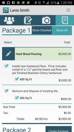 JobFLEX Contractor Estimate and Proposal - Create Package Pricing
