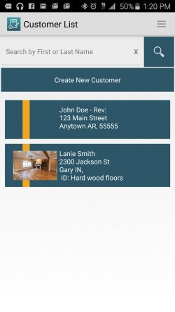 JobFLEX Contractor Estimate and Proposal - Customer List