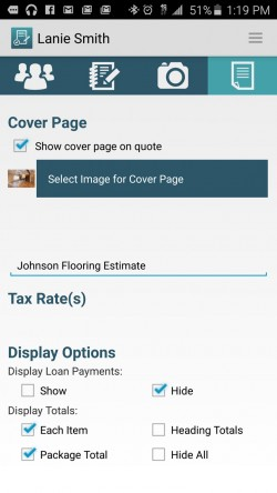 JobFLEX Contractor Estimate and Proposal - Options for Generating Quote