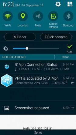 B1Vpn - Status in Notification Window