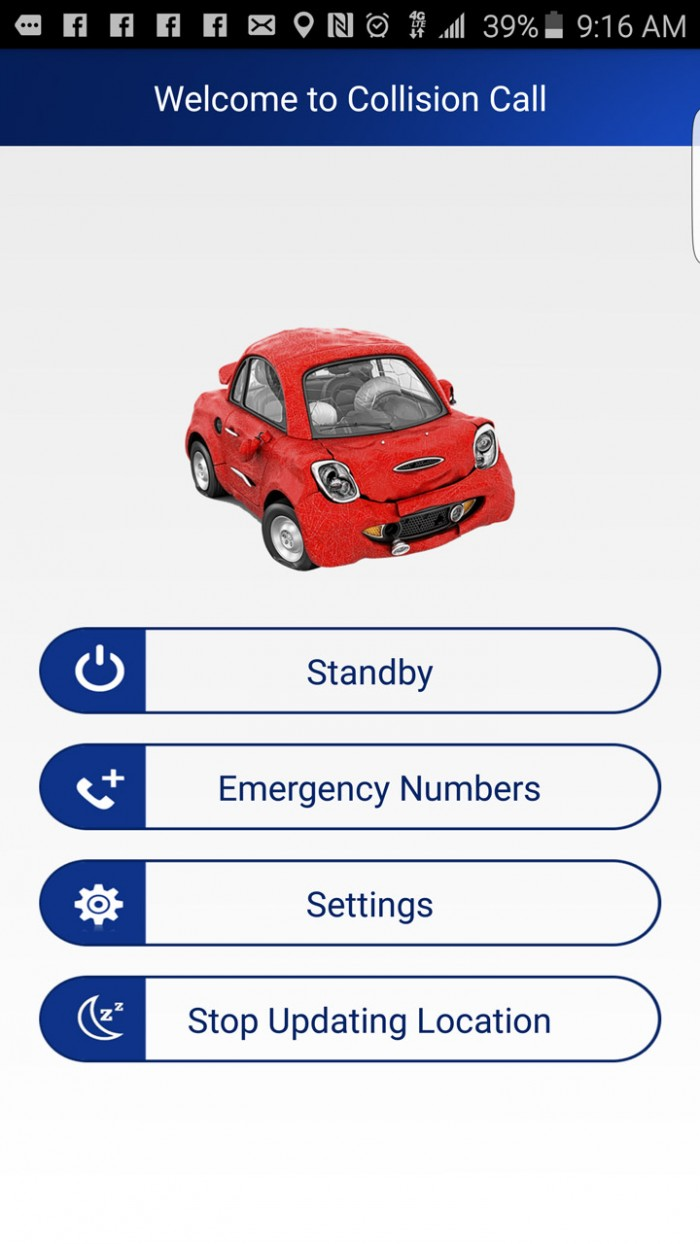 Collision Call – safety driving app automatically contacts emergency & family in the case of crash
