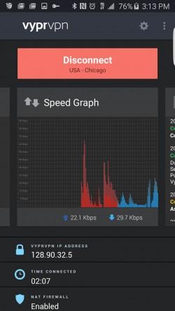 VyprVPN Free Secure VPN - Speed Graph