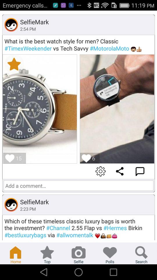 SelfieMark – social feed for selfies & polls