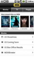 IMDb Movies and TV Movies Main Screen