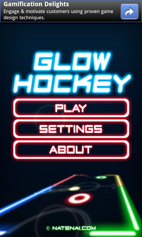Glow Hockey Start Screen