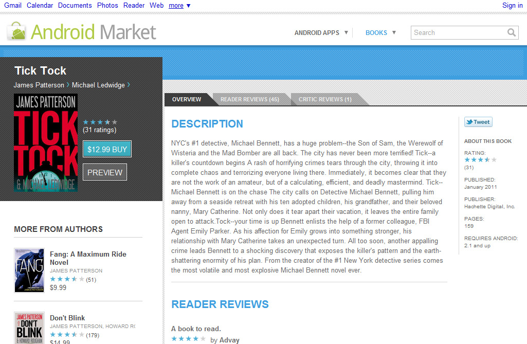 Android Market Books Details