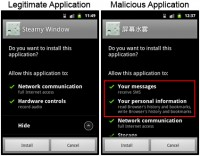 Legitamate Steamy Windows App and Android.Pjapps Infected Version