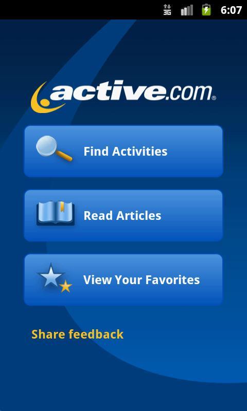 Active.com Main Screen