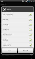 Sports Eye Soccer Tick boxes to select news sources
