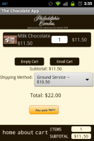 Chocolate App Cart