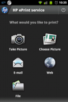 HP ePrint Menu