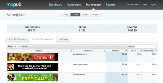MoPub Marketplace Creatives Dashboard