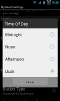 My Beach HD - Time of day settings