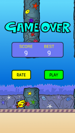 Splashy Fin the Clumsy Fish - Game Over